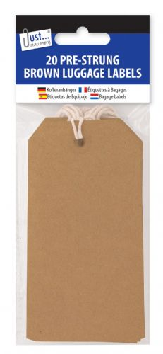 20 Brown Luggage Labels 12 x 6cm